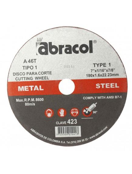 Disco corte 4 1/2 X 1/16 422 Abracol  A46T