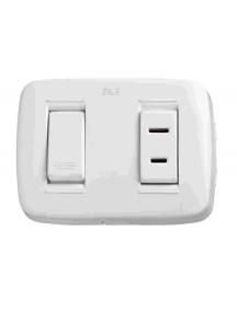 Interruptor sencillo + Toma blanco DUE 12016