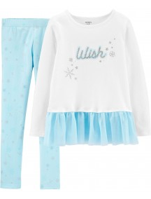 Conjunto de leggings de copo de nieve y top con peplum Wish de 2 piezasCarter´s