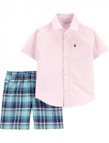 Camisa Oxford de 2 piezas con botones en la parte delantera y pantalón corto a cuadrosCarter´s