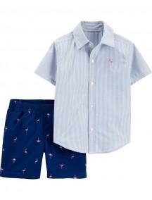 Conjunto de camisa de 2 piezas a rayas con botones en la parte delantera y pantalón corto de flamencoCarter´s